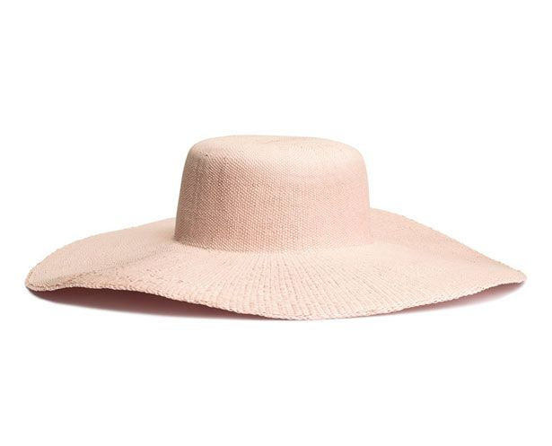 h&m pale pink straw hat