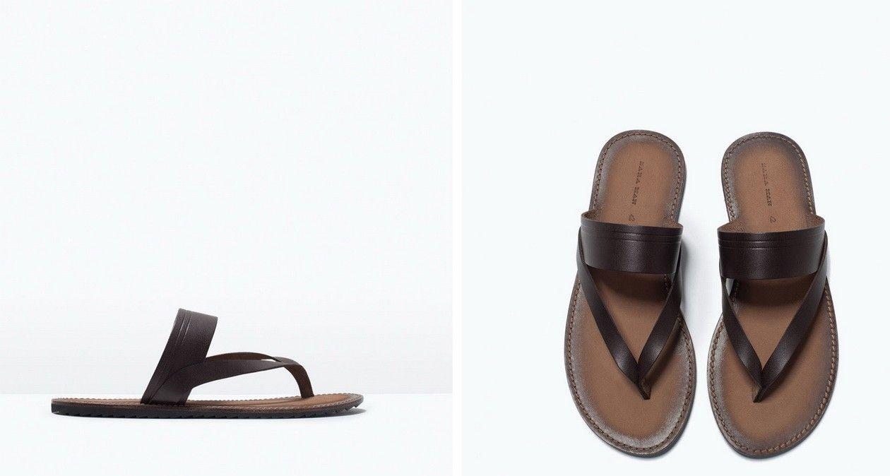 zara men leather flat sandals