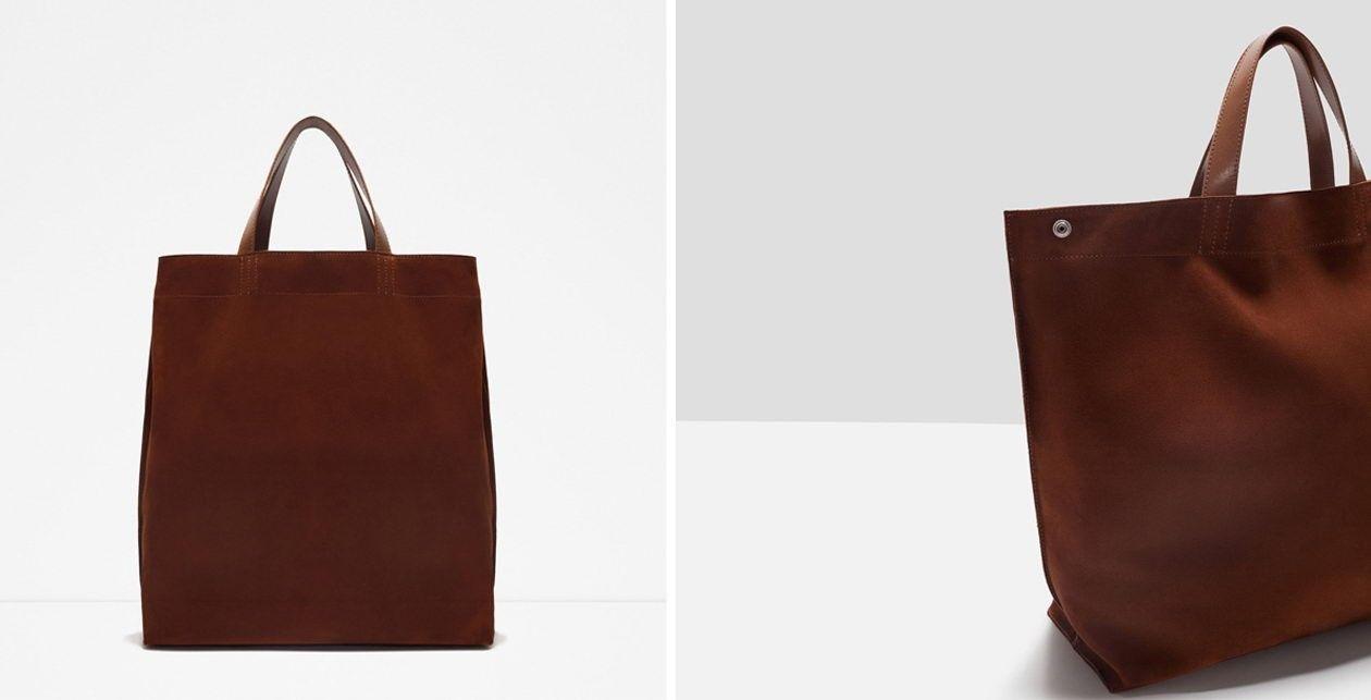 zara leather shopper bag