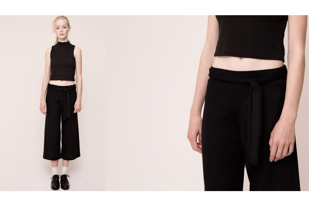 pull&bear knit flared trousers with belt
