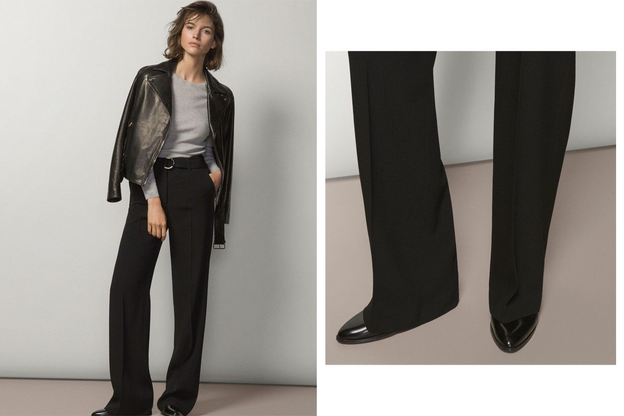 Massimo Dutti buckled wide leg trousers
