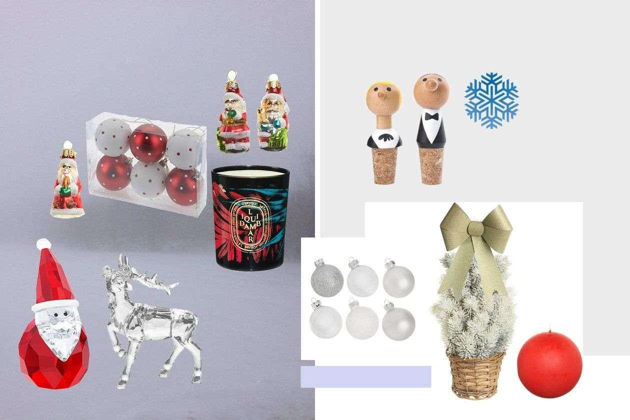 deda Mraz figura: SWAROVSKI; irvas figura, deda Mraz ukrasi, crvena okrugla sveća: COINCASA; kugle ukrasi i mašna: HOME CENTER
