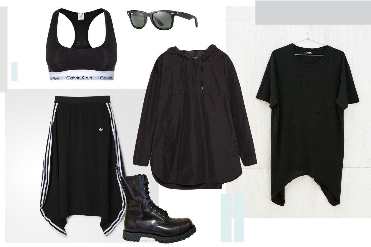 top: CALVIN KLEIN, suknja: ADIDAS, ćizme: SHELLYS RANGERS, naočare: RAY BAN, jakna: ZARA men, majica: BERSHKA men