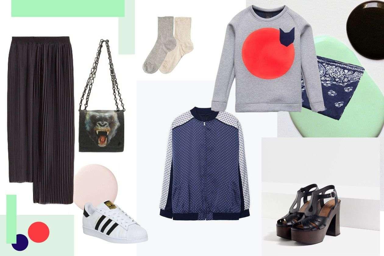 suknja: H&M, tašna: REPLAY, patike: ADIDAS superstar, čarape: OYSHO, jakna: MANGO, duks: DECHKO TZAR, sandale: ZARA, marama: STRADIVARIUS