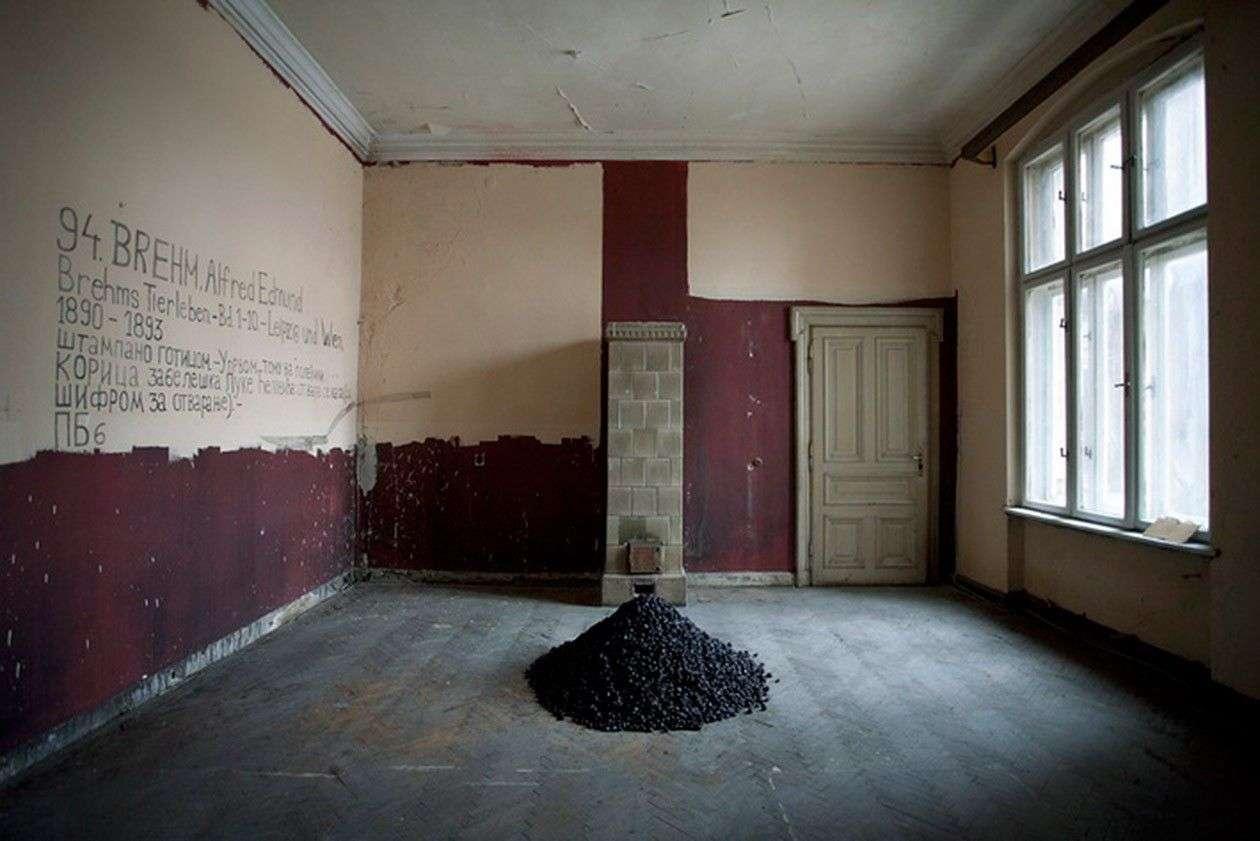 UNTITLED ( Ghosts within us ), 2012 Ambijentalna instalacija, 200kg suvih šljiva, crtež na zidu Geozavod, Beograd