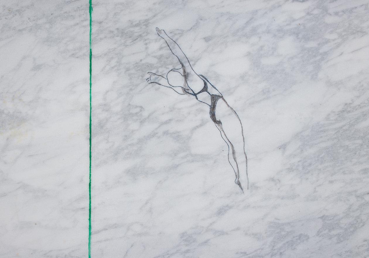 Diving (skakačica), 30 x 20 cm, olovka i ulje na mermeru, 2016